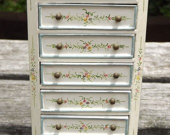 Meirucorp Miniature Dollhouse French Painted Jewelry Chest Cabinet