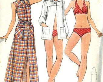 Vintage Butterick 3161 UNCUT Young Junior /Teen Bikini, Hooded Coverup Sewing Pattern Size 13-14 Bust 33
