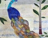 Original Framed Canvas Art Peacock Collage 8 x 8