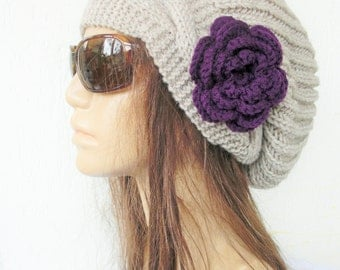 Hand Knit Hat  Womens hat  Boho Hat   Slouchy Hat  with Flower   Winter  Hat  Winter Accessories  gift for her Oatmeal Beige  Autumn Fashion