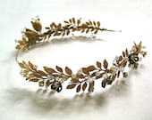Golden Girl halo headband bride brass gold pearl crystal leaves flowers