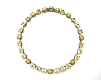 Jonquil Swarovski Crystal Rhinestone Necklace Citrine Crowns, Anna Wintour Inspired, 11 mm Big Stones Necklace Layering Necklace