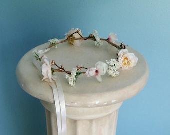 pink gold boho Bridal Flower crown ivory blush hair wreath headband Halo bridal party floral headpiece beach destination wedding accessories