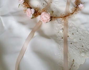 Woodland crown Peach dried flowers birthday hair wreath simple airy circlet garland bridal flower girl halo rustic chic wedding accessories