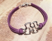 Lavender Leather Autism or Aspergers Awareness Bracelet with Silver Puzzle Piece Charm - Multiple Sizes - Handmade Autism Jewelry Gifts
