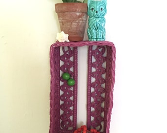 Vintage Woven Tissue Box Cover - Purple - Repurposed into Small Hanging Shelf or Wall Cubby - Jewelry / Earring Holder - Knick Knack Shelf