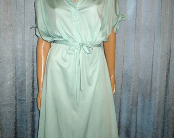 Vintage 70's - Sea Foam Green - Slouchy - Silky - Cinched - Sheer - Disco - Boho - Dress - bust: 38""