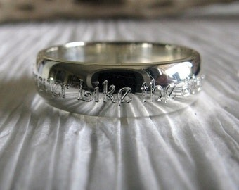 Wedding Band. Engraved sterling silver 5.5mm band. Inside & outside engraving.  Custom personalized text.  His or hers.  Artisan handmade.