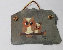 Owls on Slate Shingle, Vintage Folk Art, Rustic Painting
