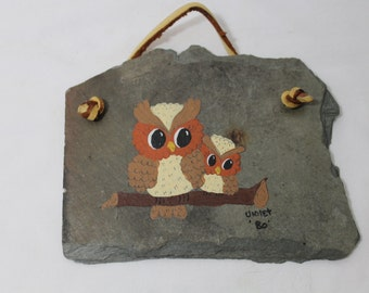 Owls on Slate Shingle, Vintage Folk Art, Rustic Painting