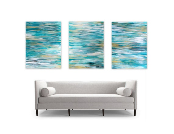 Ocean Triptych Wall Art, Acrylic Paintings 3 18x24 Canvases, Coastal Home Decor, turquoise aqua white gold silver metallic water