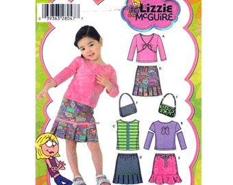 Girls Sewing Pattern Knit Tops Skirts Purse Simplicity 4563 Lizzie McGuire Size 1/2 to 2