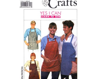 Unisex Apron Pattern Simplicity 9245 Patch Pocket Bib Front Apron Adult One Size