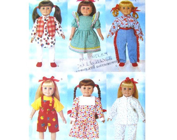 Doll Clothes Sewing Pattern Butterick 5295 Accessories Wardrobe American Girl Size 18 Inch