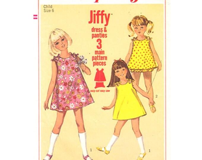 Girls Sleeveless Dress & Panties Pattern Simplicity 6990 Sundress Tied Shoulders Size 6 Vintage
