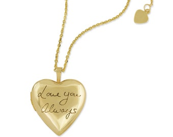 Actual handwriting on gold locket - Handwriting memorial heart locket - personalized gold heart locket in 10k gold - up to 15 letters