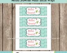 DIY Printable Melted Snowman Water Bottle Labels - Snowman Printable Labels - Printable Water Bottle Labels