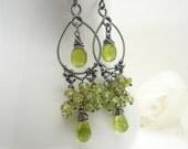 Green peridot earrings in sterling silver, olive green gemstone cluster earrings, Handmade peridot jewelry