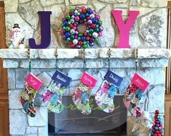 Personalized Christmas Stocking Blue Stocking Large Stocking | Set of Eight