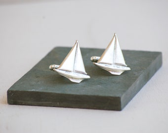 Silver Sailboat Cuff Links Nautical Wedding Boat Sailing Yacht Sail Boat Cufflinks Navy Father Groom