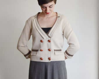 1960s Tan Wool Cardigan - M