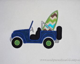 """Embroidered Iron On Applique  """"Surfboard Jeep"""""""