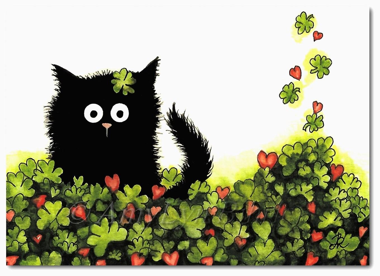black cat lucky four leaf clover st patrick u0027s day art