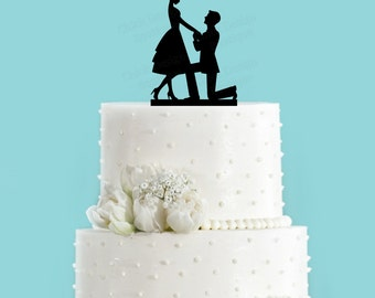 Bride and Groom Couple Engagement Acrylic Wedding Cake Topper, Marriage Proposal Cake Topper