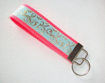 Key FOB / KeyChain / Wristlet  - metallic gold mint scrolls - bridesmaid - friend gift - coworker - natural, aqua, or neon coral