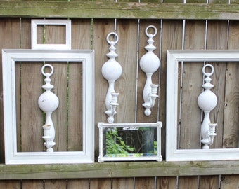 Cottage / Shabby chic  Wall Gallery Collection of Ornate Vintage HOMCO Frames & Syroco Candlestick Sconces 12 Home Decor Pieces
