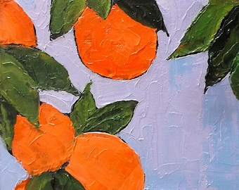 FLORIDA ORANGES Impressionist Oil Painting Garden Citrus Fruit Orchard  Lynne French Art 9x12 FREE Shipping