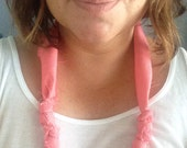 Pink coral rag bobble necklace