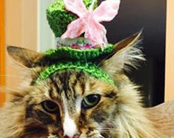 NEW - Mini Sparkle Top Hat for dog, cat -Butterfly-Made to fit-need measurement- Humorous - up 20 lb pets