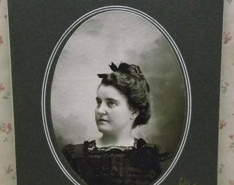 Profile Pretty Lady-Wild Hairstyle-Elegant Dress-Antique Cabinet Photo-Minonk,IL