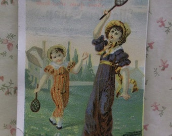 Lautz Bros Soap-Victorian Advertising Trade Card-Pretty Girls Playing Tennis-1800's