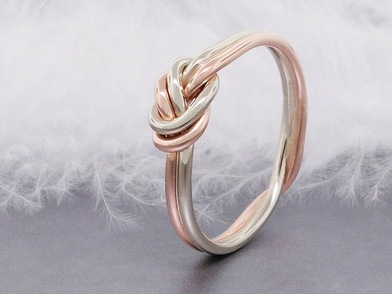 14k solid rose gold love knot ring double strand by
