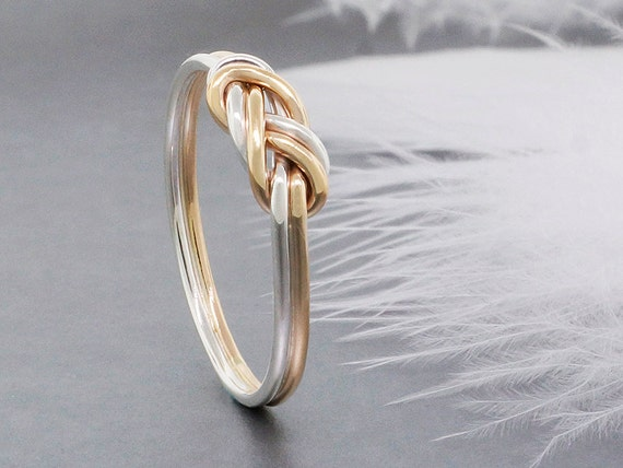 14k Solid Gold And Sterling Silver Climbing Knot By. Mysterious Engagement Rings. 14k Wedding Rings. Non Standard Wedding Rings. Happy Rings. Dual Band Engagement Rings. Peridotite Wedding Rings. Two Finger Rings. Jewellery Design Wedding Rings