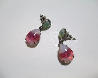 Vintage Glass Stone Earrings DEADSTOCK