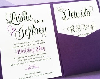 Purple Wedding Invitation - Lavender Wedding Invitation - Wedding Wishes Pocket Invitation - Pocket Fold Wedding Invitation - Wedding Invite