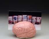 Hold for Jessi *** Pink Brain Business Card Holder    ****   psychology, biology, geek, nerd, geekery, unique, office, gift, zombie