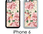 iPhone 6  6S iPhone 6 PLUS Cottage Chic Shabby Pink and Cream Floral Roses Your Trim Choice Hard , Rubber or Tough Cases