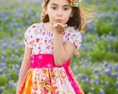 "Pink, Orange & White ""Sunflower Sunrise"" Stripwork Ruffle Dress - Girls - Lace Trim - Birthday Party - Photos - Special Occasion - Summer"