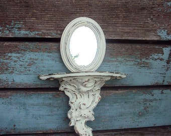 Vintage Shabby Chic Italian Mirror and Shelf Baroque Rococo Distressed Chippy antique off White
