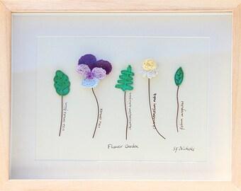 Flower Garden Original Textile Art Picture Framed