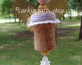 Wine cork angel ornament, wine bottle tag/gift tag