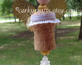 Wine cork angel tree ornament, wine bottle tag/gift tag