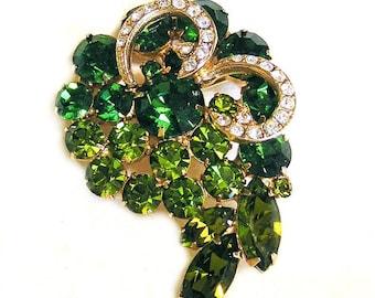 Peridot and Emerald Rhinestone Brooch