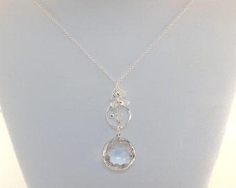 Crystal Sterling Silver Necklace - Swarovski Necklace - Crystal Necklace - Bride Necklace - Wedding Necklace - Elegant Necklace - N062