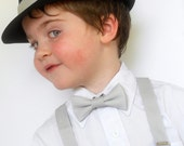 Light Gray Bowtie and Suspenders Set and Black Fedora - WONDERFUL EASTER OUTFIT                                 2 weeks before shipping