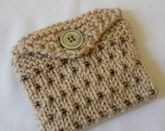 Beaded Knitted Mini Purse/ Tan Hand Knitted With Brown Beads And Fabric Lined Knit Wallet/ Business Cards,Credit Cards, Or Gift Card Holder